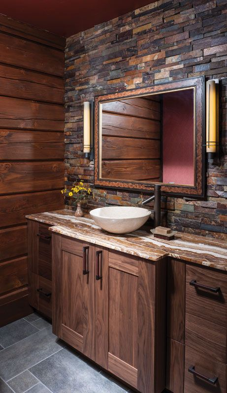 The backsplash #tiling of this bathroom wall creates a whole new