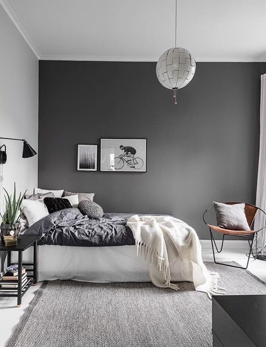 Love the dark grey wall used in this bedroom | Dream Home u003c3
