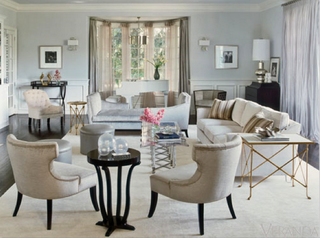 cream, black, gold, silver, blue-gray   COLOR   Art deco living room