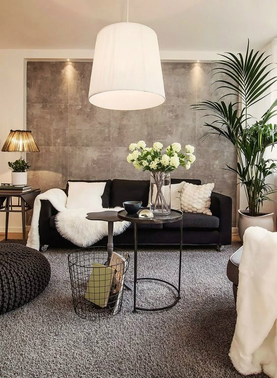 48 Black and White Living Room Ideas | 3. Interior design and space