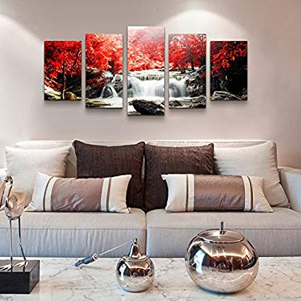 Amazon.com: youkuart Canvas Print Wall Art Red Woods Waterfall