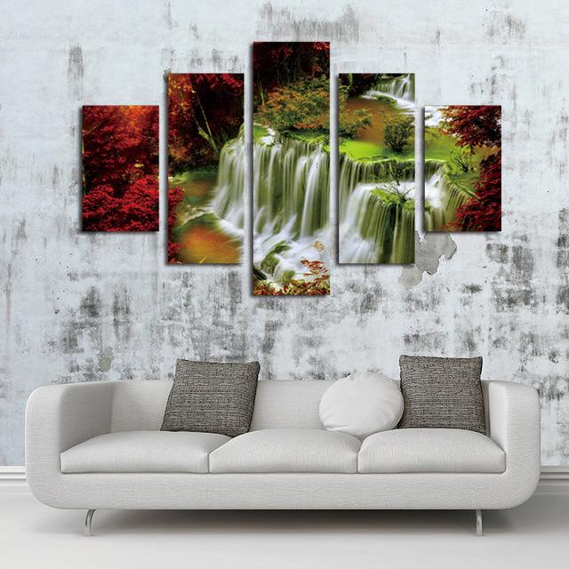 Custom Make 5 Panels Unframe Waterfall Painting Canvas Wall Art