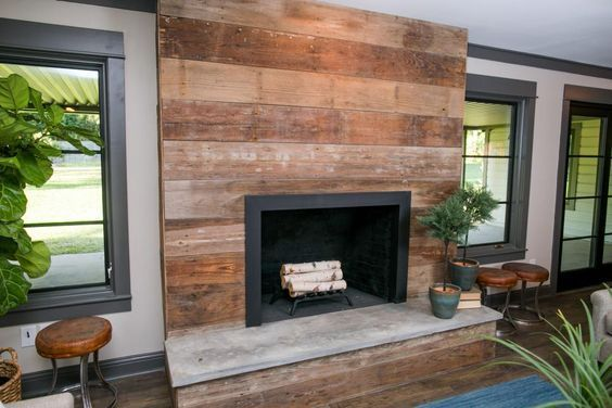 wood clad brick fireplace |  fireplace living rooms reclaimed