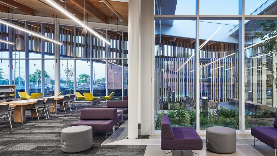 Green-roofed Albion Library in Toronto feels like an extension of