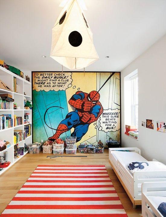 Coolest boy's bedroom ever. Comic book wall! | Design & Decor | Room