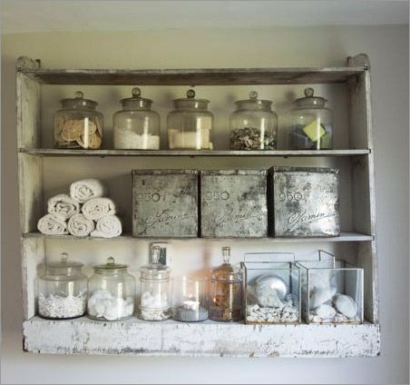 Open bathroom shelving. This would look great in a modern french