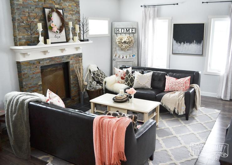A Black & Blush Pink Living Room + DIY Pom Pom Heart Pillow   The