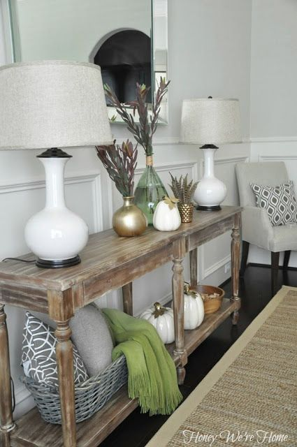 Neutral Dining Room Console Table // Honey We're Home | HONEY WE'RE