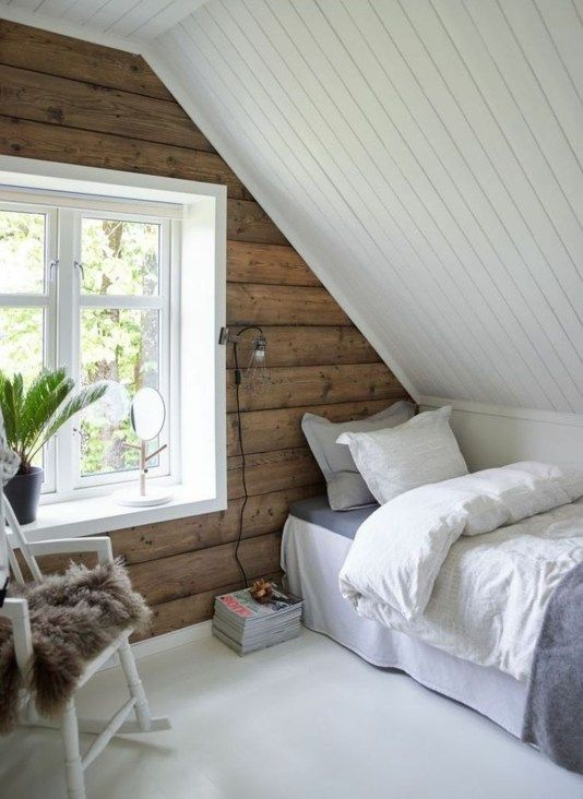 48 Elegant Small Attic Bedroom For Your Home | Slanted Ceiling