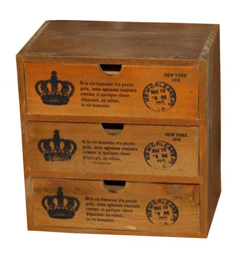 Elegant Small Crown Pattern Wood Storage Chests Desktop Receive
