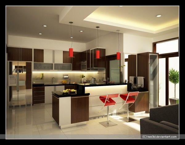 Kitchen Extraordinary Modern Comfortable Kitchen Design Ideas With