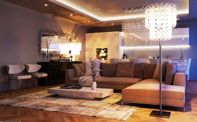 Luxurious Living Rooms in a Small Apartment Designed by Eduard