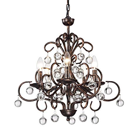 Edvivi 5-Light Antique Copper Finish Iron and Crystal Chandelier
