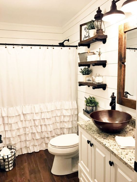 Farmhouse bathroom ideas for small space (34 in 2019 | Small living