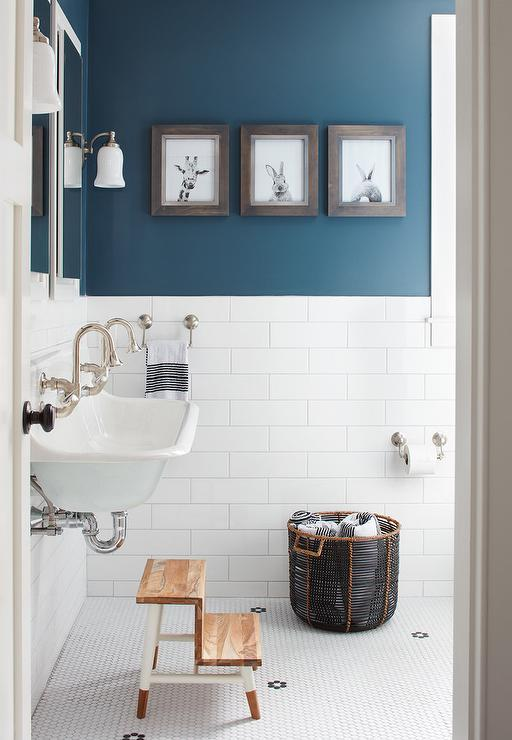 Boy Bathroom with Peacock Blue Wall Paint Color - Transitional