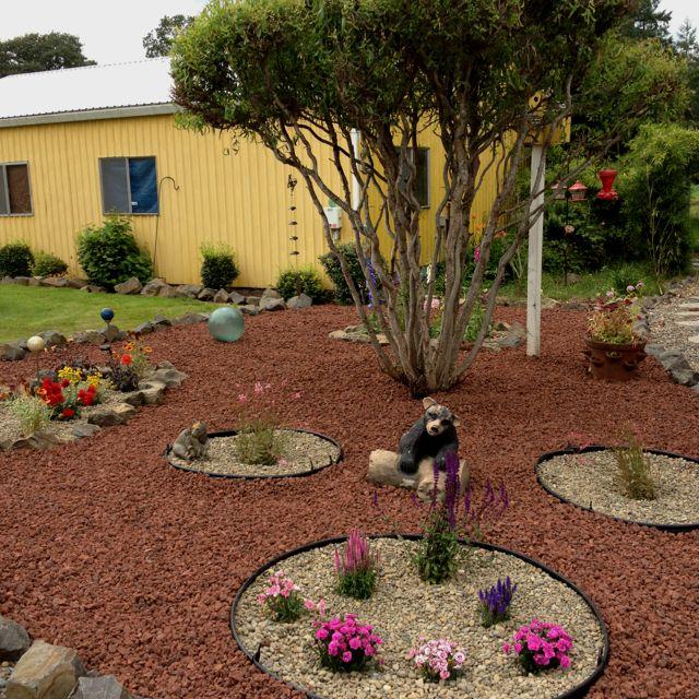 Flower Beds Rocks Front House Ideas 1