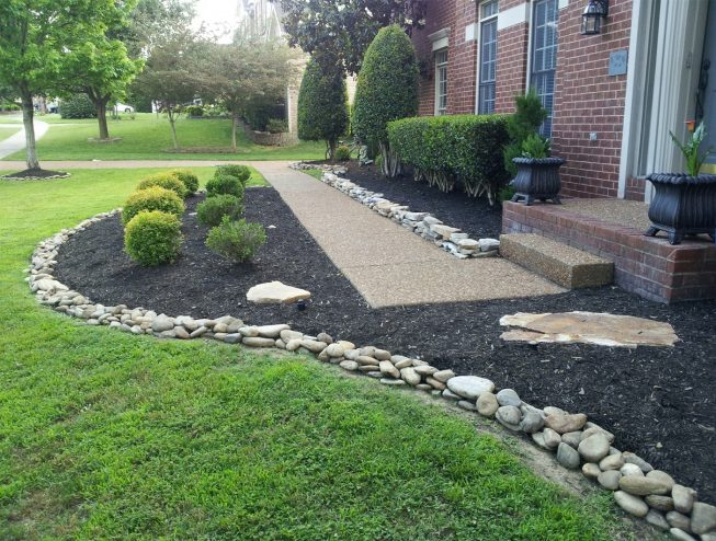 Flower Bed Ideas with River Rocks for Front Yard House Design Ideas