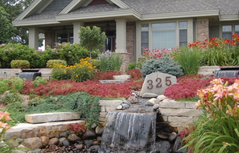 Flower Beds Rocks Front House Ideas