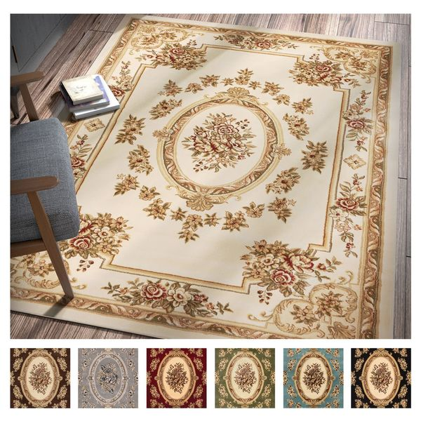 Shop Well Woven Agra Traditional French Country Aubusson Floral Area