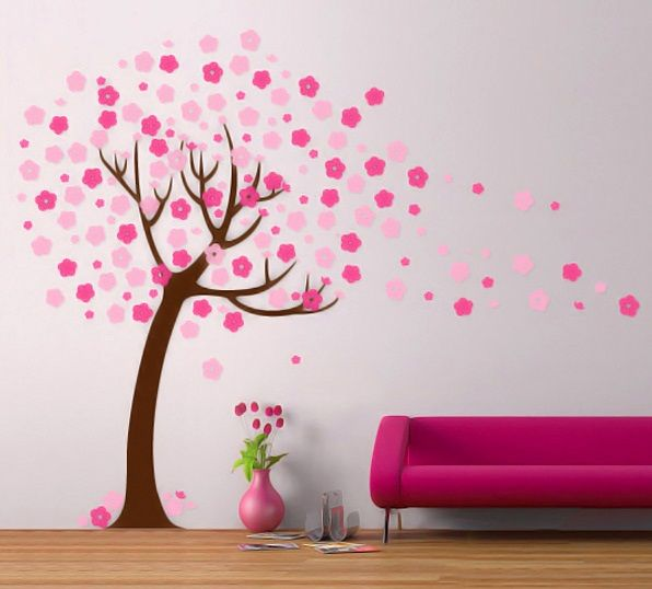 Attractive Handmade Wall Design for Decoration Ideas: Cherry Blossom