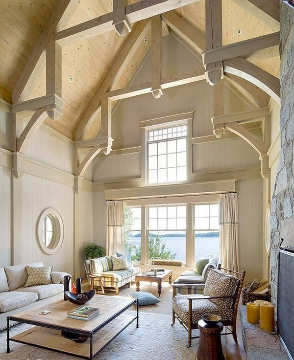 cathedral ceiling design ideas exposed beams natural wood color