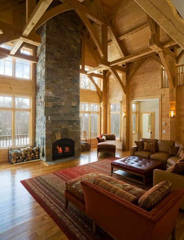 10 High Ceiling Living Room Design Ideas | For the Home | Log cabin