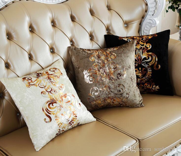 European Style Printing Cushion Cover Luxurious Bronzing Pillow