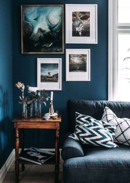 43 Cozy and Luxury Blue Living Room Ideas | Home decor | Dark living