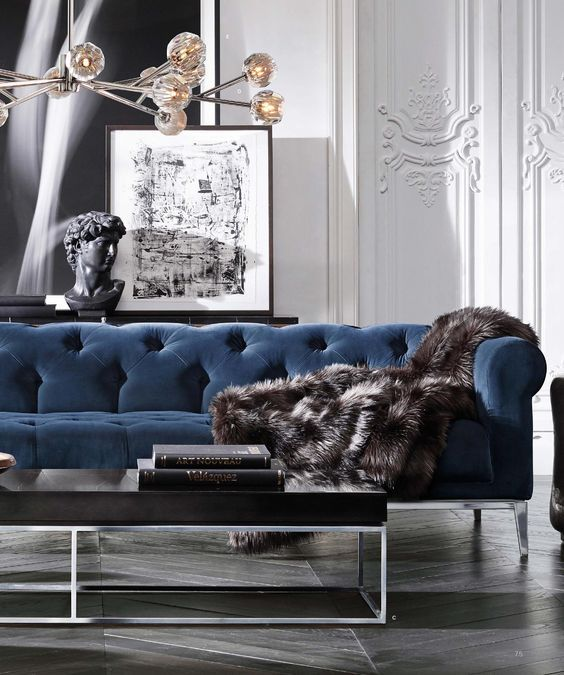 Need a Living Room Makeover? | velvet | Blue velvet sofa, Velvet