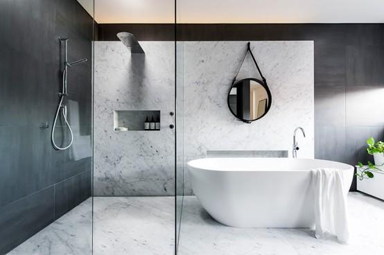 Refined Yet Minimalist Bathroom Design With Greenery - DigsDigs