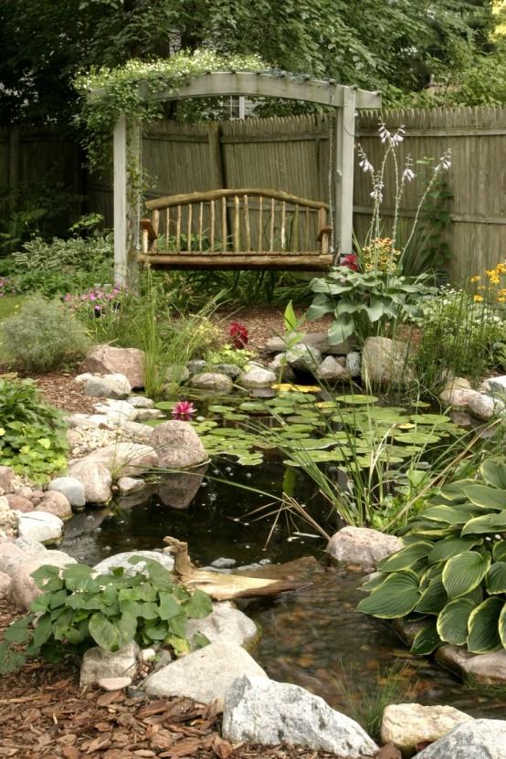 Modern Backyard Fish Pond Garden Landscaping Ideas 10