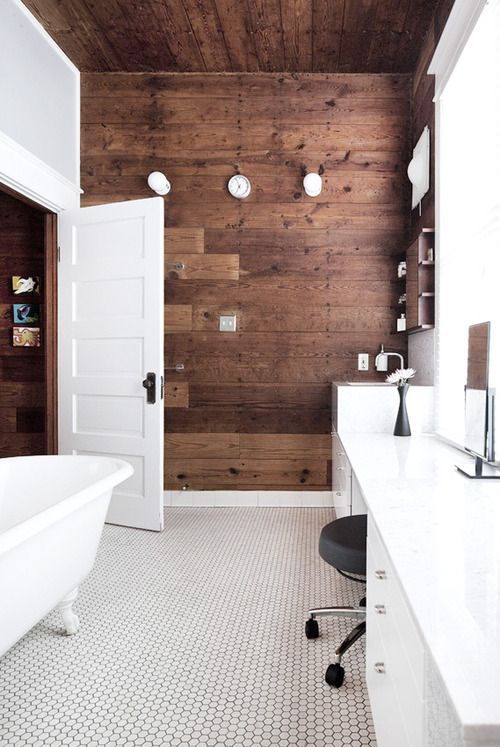 white furniture and dark wooden walls (my ideal home) | bathing