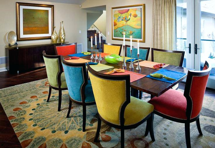 Multi Colored Chairs Contemporary Dining Room For Stunning Colorful