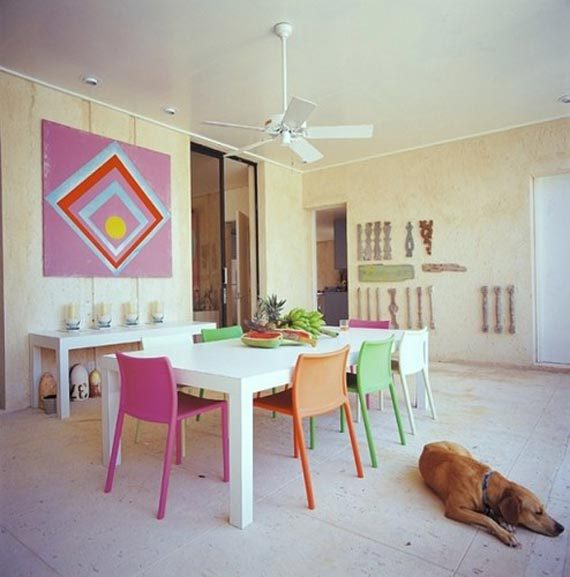 Brilliant Colorful Dining Room Chairs Colorful Dining Room With