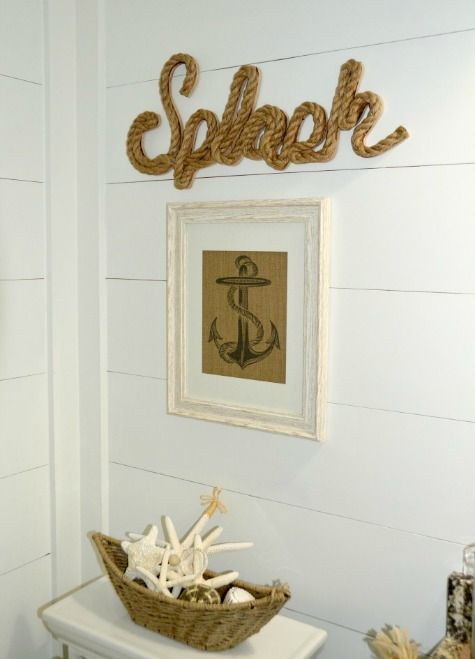 Nautical Beach Bathroom with Shiplap Walls | Nautical Decor Ideas
