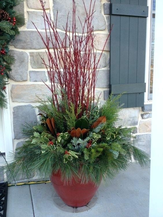 Unique Planters Ideas On Outdoor Christmas Planter Urn Arrangement