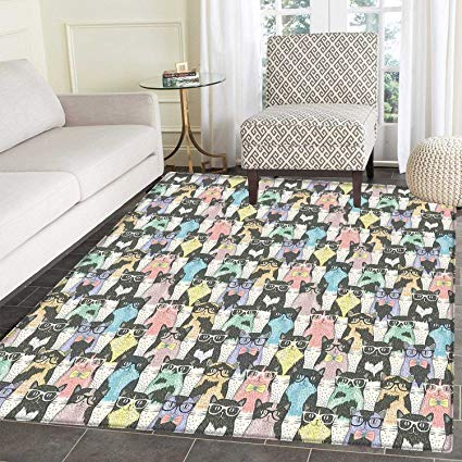 Amazon.com: Cat Area Mat Carpet Pattern with Hipster Playful Feline