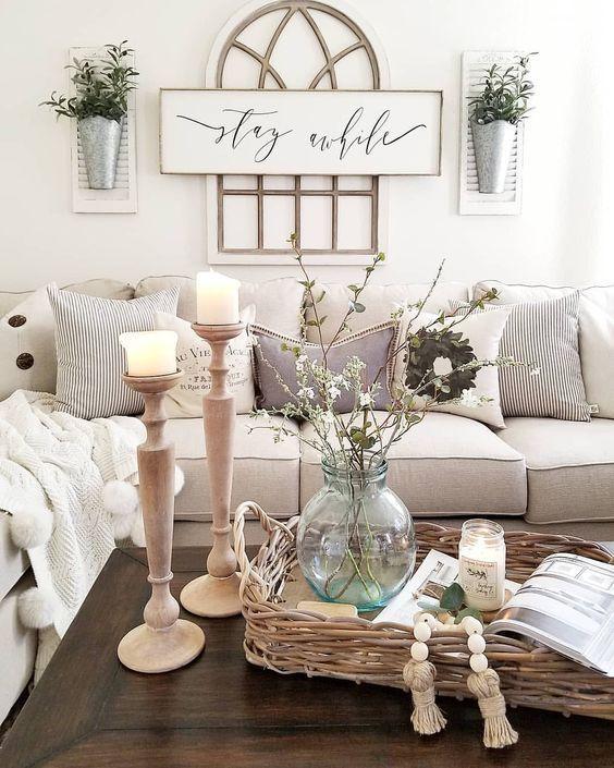51 Rustic Farmhouse Living Room Design and Decor Idea - | Farmhouse