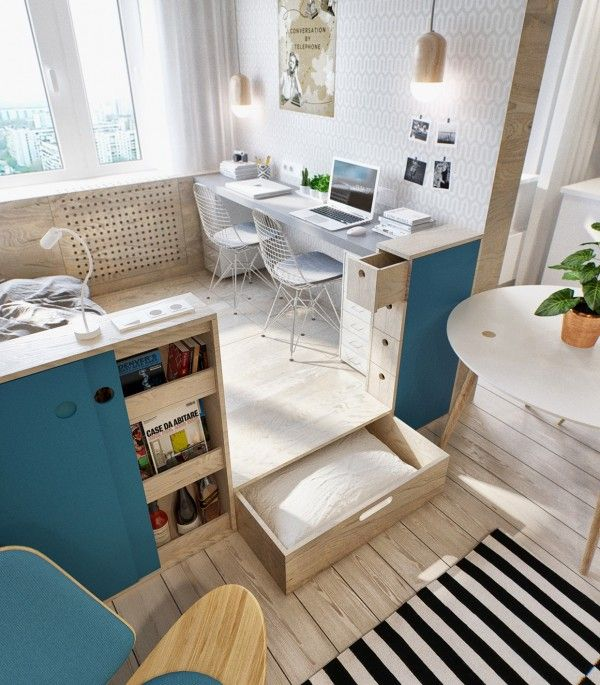 20 Great Space Saving Ideas | home! | Small studio apartments, Home