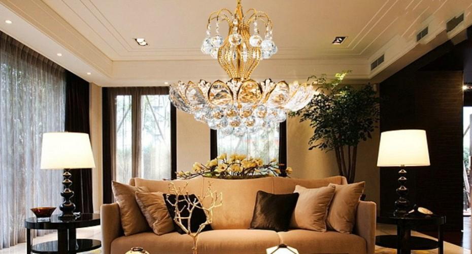 Luxury Home Designs: European Luxury Chandeliers Gold Crystal Living