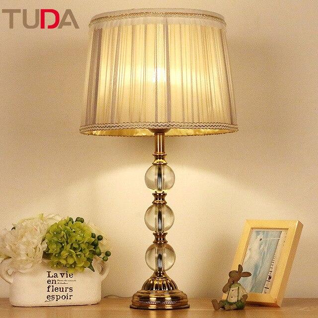 TUDA 30X58cm Crystal Bedroom Bedside Table Lamp Stylish Decorative