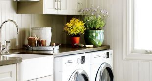 pale gray cabinets in laundry room | laundry rooms | Laundry room