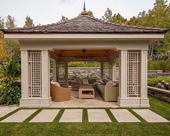 garden design, Modern Gazebo As Sunroom And Outdoor Living Room