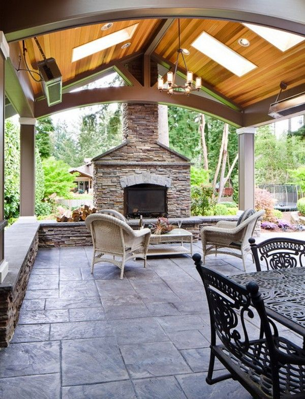 Gazebo with Fire Pit | The Ultimate Stamped Concrete Patio Design