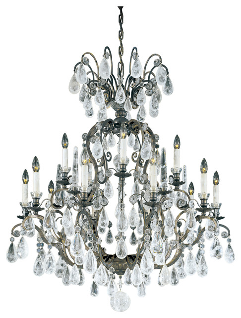 Versailles Rock Crystal 15-Light Chandelier - Traditional