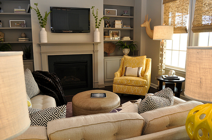 Yellow and Gray Living Room - Transitional - living room - Lucy and