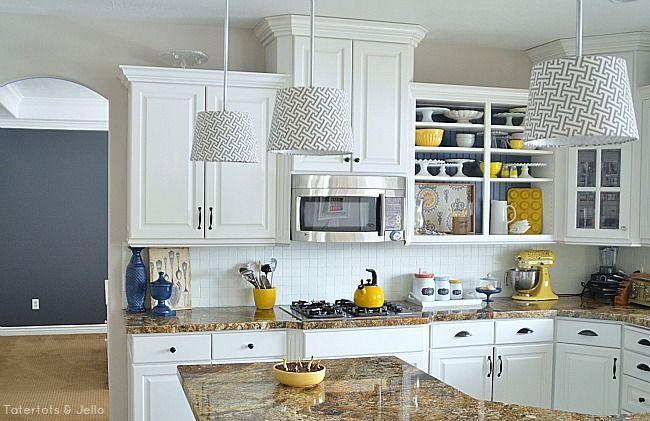 Create Kitchen Open Shelves | Kitchen ideas | Yellow kitchen accents