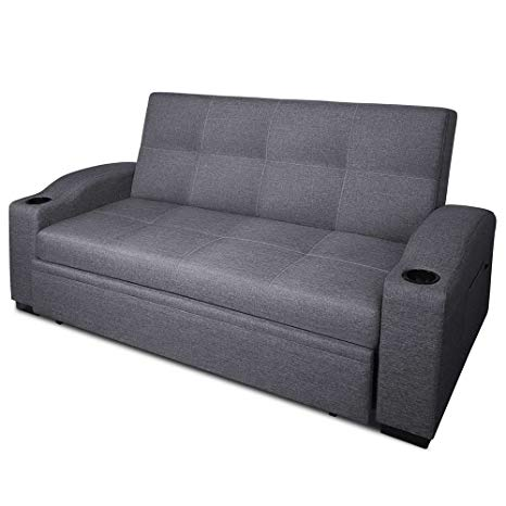 Amazon.com: 3 Seater Sofa With Cup Holder In Faux Linen Fabric