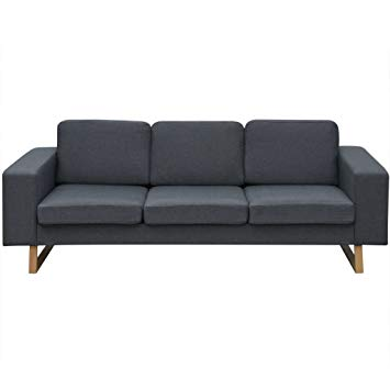 Amazon.com: Festnight 3-Seater Sofa Fabric Upholstery Couch Wooden