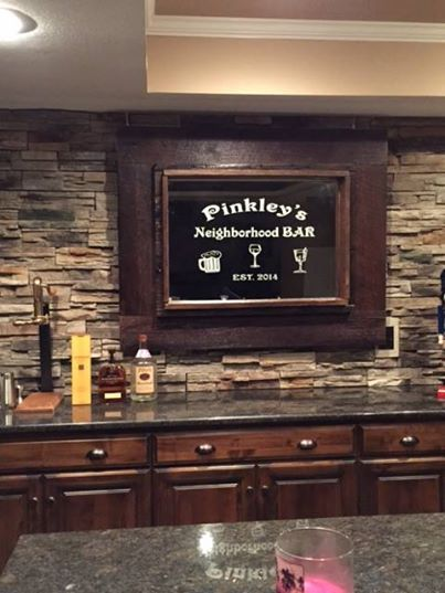 Check out this personalized custom etched bar mirror Forever Yours